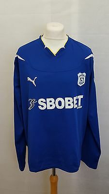 Cardiff City Fc Shirt Home Size Xxl - Puma Blue Long Sleeve