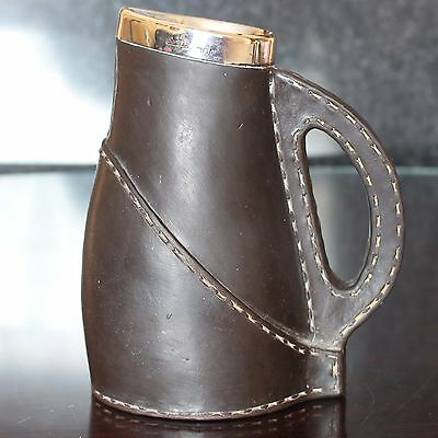 Doulton Lambeth Leather Effect Stoneware Jug with Silver Collar 1898