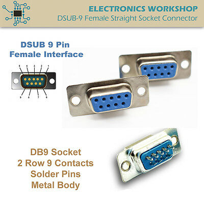 D-SUB 9 Pin DB9 RS232 Female Socket Connector Solder Type Straight Hole