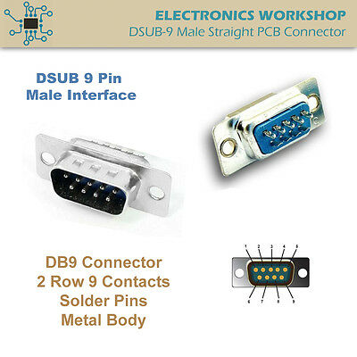 D-SUB 9 Pin DB9 RS232 Male Connector Solder Type Straight Socket
