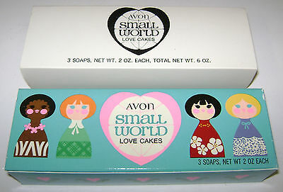 3 Vintage Avon Small World Love Cakes Heart Soaps Nos New Unused Original Box