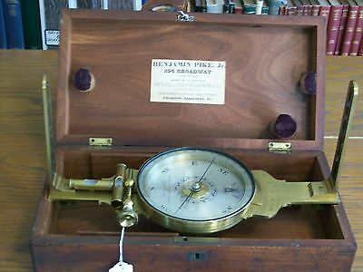 "B. PIKE Jr., NEW YORK 5"" SURVEYORS VERNIER COMPASS - Circa 1850"