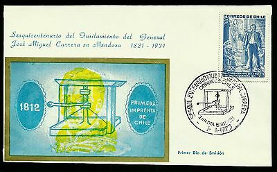 Chile, Shooting Of General Jose Miguel Carrera, Year 1973, Fdc, Rare, (Gar42)