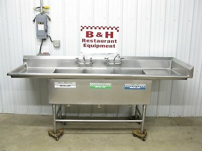 "96"" Stainless Steel Heavy Duty 3 Bowl Compartment Sink w/ Right Side Splash 8'"