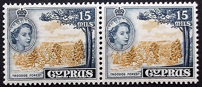 (A299) Cyprus 1958 15m #177a Bistre and Indigo pair MNH.