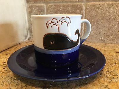 Blue Spouting Whale Vintage Cup And Saucer Set Moby Dick Made/Japan