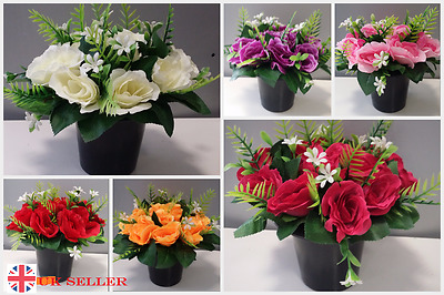 2 x memorial grave pots artificial silk rose flower arrangement funeral