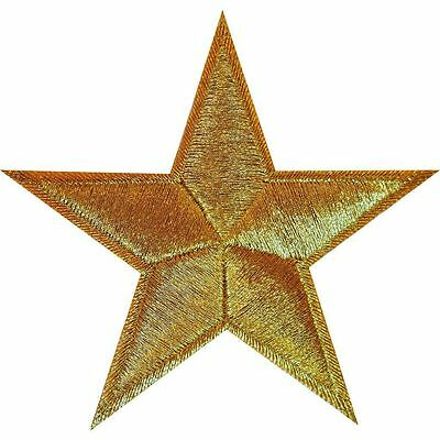 Shiny Gold Star Embroidered Iron Sew On Patch Valentine Applique Badge Motif