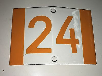 K13 * Rare Porcelain Enameled House Number Sign 24 * Antique German 1930's