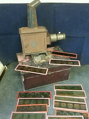 RARE Antique Travel / Portable Magic Lantern Boxed with Old Slides