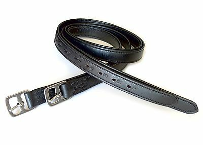 "54"" Length Adult English Saddle Super Soft Stirrup Leathers Black"