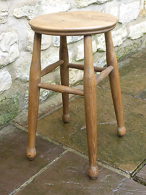 Vintage Round Topped Stool Elm,Beech & Ash. Turned Legs with Cross Stretchers