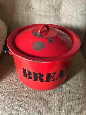 Large Vintage Red Enamel Bread Bin