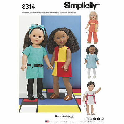 Simplicity Sewing Pattern 8314 18 Inch Doll Clothes Dress Top Pants New UNCUT