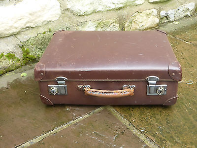 Globetrotter Suitcase. Brown, Vintage . Made in England Stamped.