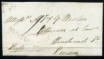 1795 HUNTINGDON Concave Mark in Black entire to London