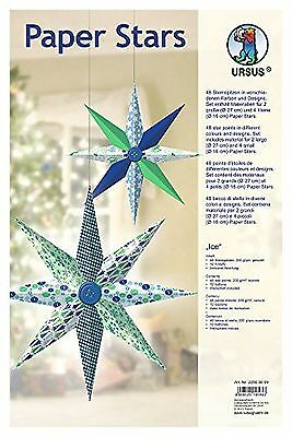 Ursus 22560099Paper Stars Ice Large/6Stars in 2SizesBlue