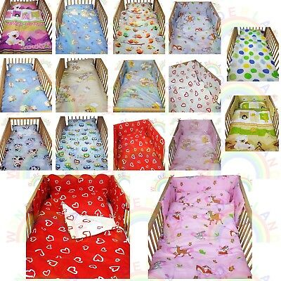 cot bedding set 2 PIECE baby BED SET DUVET cover PILLOW case FITTED SHEET