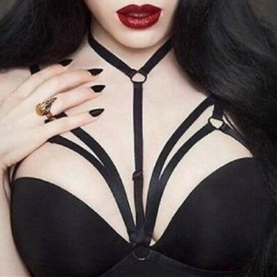 Black Gothic Elastic Choker Cage Bra Erotic Lingerie Strappy Bustier Bandage Bra