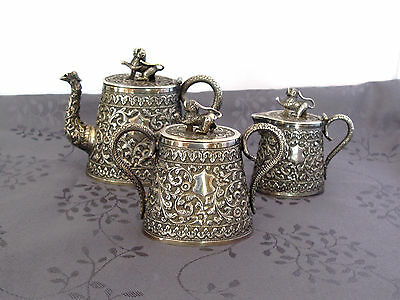 Chinese Export Silver Tea Set Indian Sterling Argent Massif Service  A The Chine