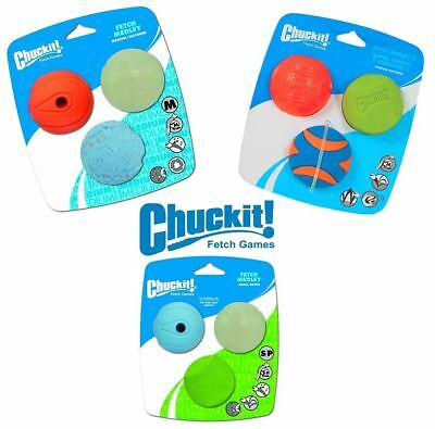 Chuckit Fetch Medley 3 Assorted Bouncy Glow Squeaker Rubber Balls Dog Puppy Toy