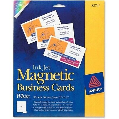 Inkjet magnetic business cards AVERY 8374 10 per sheet 2 x 3.5 FREE SHIPPING