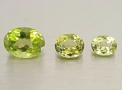 WaterfallGems 3pcs Peridot Ovals, 8x6mm to 5x4mm, 2.80tcw