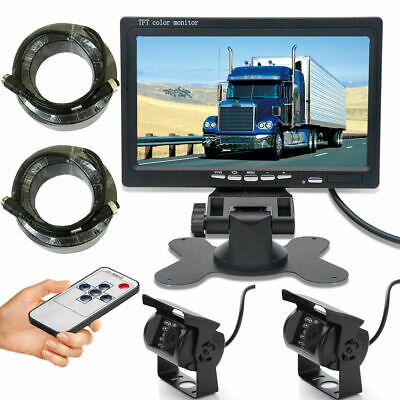 "For RV Bus Van Truck IR Rear View Back Camera Night Vision+7"" LCD Monitor System"