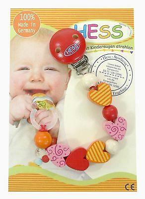 Hess Wooden Baby Toy Pacifier Mia Chain Clip
