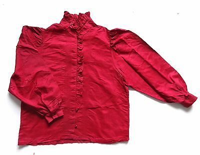Vintage Ruffle Detailed Silk Blouse Retro Boho 16