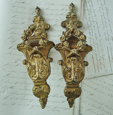 Pair Antique French Tie Back Hooks Hold Backs Garland Of Roses Bronze