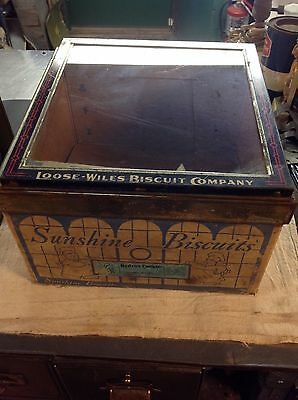 Rare Complete Vintage  SUNSHINE BISCUIT BOX & HINGED GLASS LID LOOSE WILES Co!