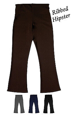 Girls Ladies School Uniform Stretch Ribbed Rib Hipster Trouser 2-16 Years RH3036