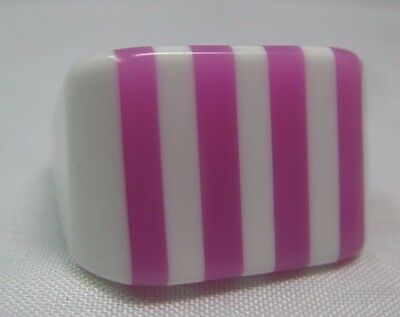 Vintage Pink & White Layered Candy Striped Lucite Chunky Ring Size 7
