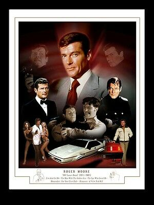 007 Roger Moore Montage Print