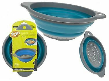 Summit Collapsible Colander with Hanging Loop - Blue