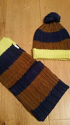 Mini Boden HAT & MITTENS SET 2-6 years boys BNWT Braun Navy Green