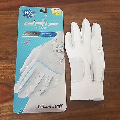 Wilson Staff Ladies Grip Plus Golf Glove Right Hand White Size Large L Womens