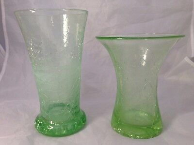 Uranium Green / Crackle Flared Glass Vase