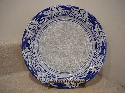 Antique Dedham Art Pottery Duck Water Lily Plate Square Backstamp Blue Crackle