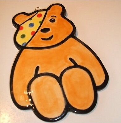 2 Ceramic Bisque Pudsey Bear Children In Need Plaques Ready To Paint & Glaze