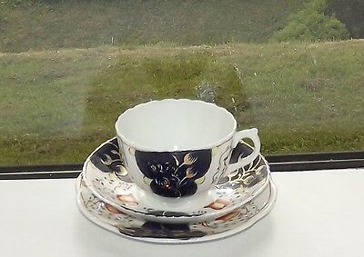 Victorian Gaudy Welsh Tulip Pattern Blairs China Cup Saucer Plate c1900
