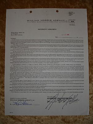 Sylvester Stallone hand signed contract 1979 William Morris Agency
