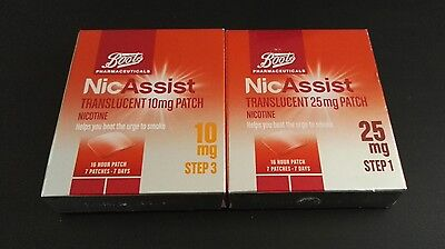 Boots NicAssist 10mg, 25mg step 1 and 3 patches