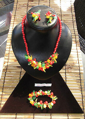 Vintage Fruit Salad Beaded Red Celluloid set Necklace  Earrings + Bracelet H.K.