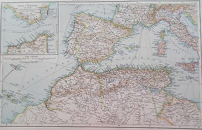 Map of Western Mediterranean. 1895  SPAIN ITALY NORTH AFRICA. Original.