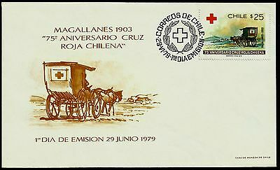 CHILE, RED CROSS, 75th. ANNIV., MAGALLANES, YEAR 1979, FDC, RARE, (GAR57)