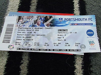 Portsmouth V Newport County 2015-16  Football Ticket Only