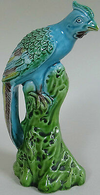 "Peacock Bird Figurine Porcelain 5-3/8"" Tall 1900 to 1920s Antique Vintage V Good"
