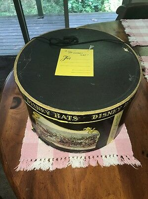 Old Mr Disney Hat Box decorative empty fedora top hat company advertising box